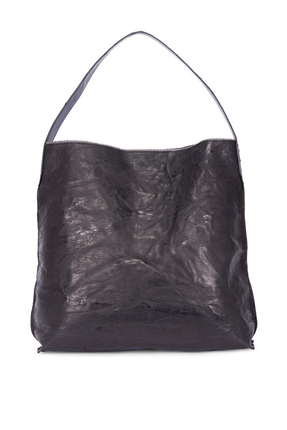 B May Bags Anthracite Ostrich Slouchy Hobo