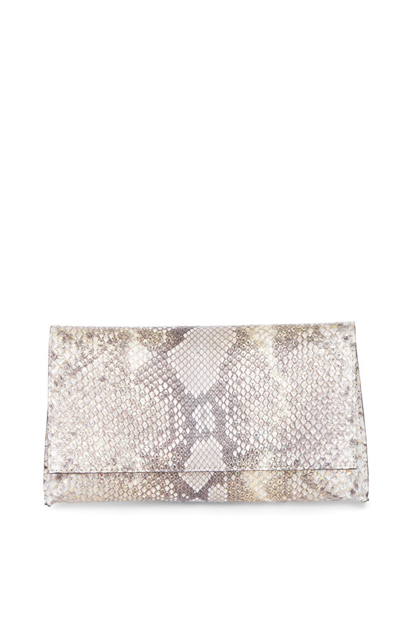 B May Bags Gold Fleck Python Fold Over Clutch