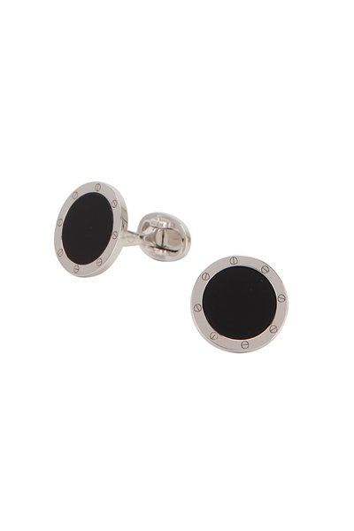 Jan Leslie - Sterling Silver Black Onyx Circle Cuff Links
