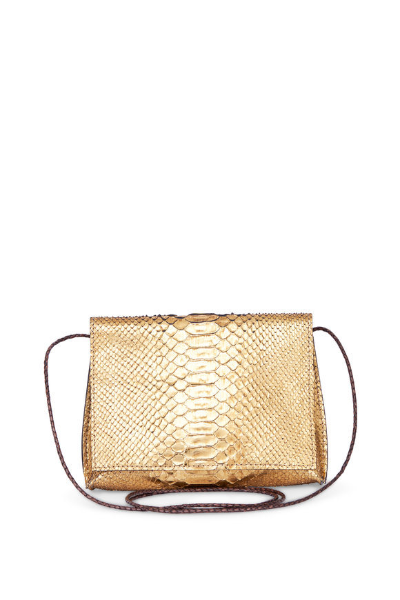 B May Bags Vintage Gold Python Strappy Fold Over Crossbody