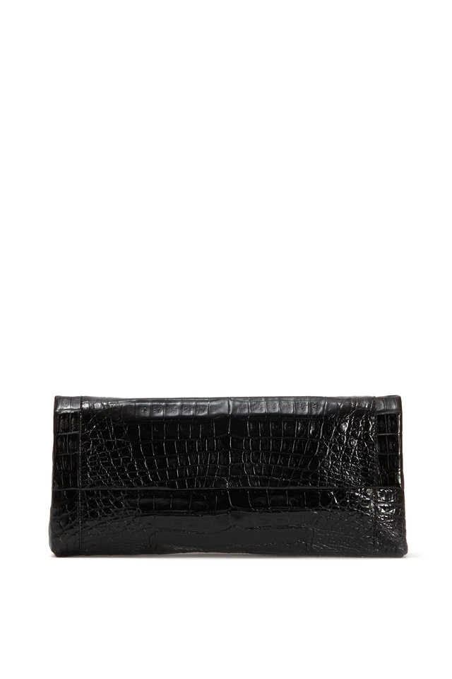 Black Crocodile Flap Clutch