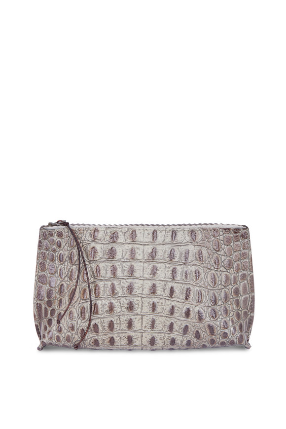 B May Bags Smoke Grey Embossed Croc Essential Pouch