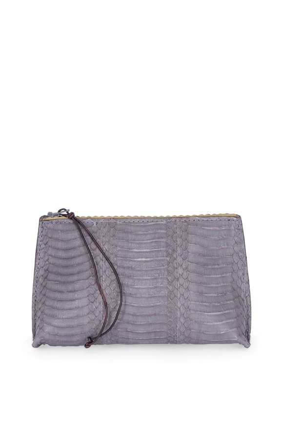 B May Bags Grey Watersnake Lipstick Pouch