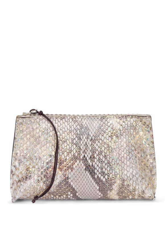 B May Bags Gold Fleck Python Lipstick Pouch