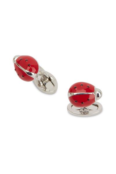 Jan Leslie - Sterling Silver Red Ladybug Cuff Links