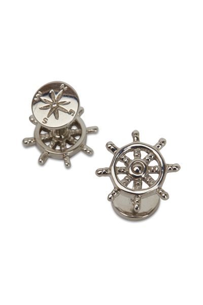 Robin Rotenier - Sterling Silver Boat Wheel & Compass Cuff Links