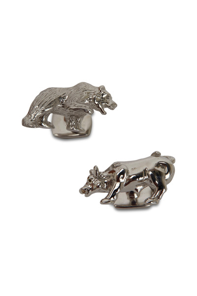 Robin Rotenier - Sterling Silver Bull & Bear Cuff Links