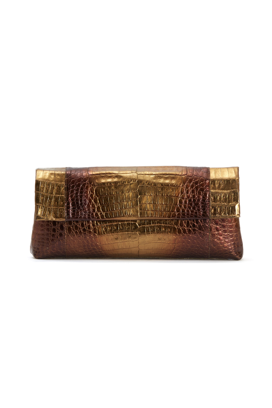 Gold & Black Crocodile Front Flap Clutch