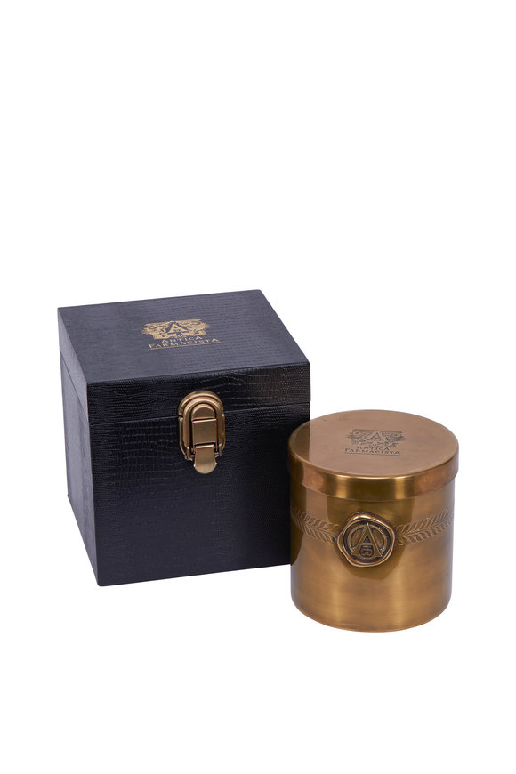 Antiqua Champagne Black Label 3-Wick Candle In Brass, 37oz
