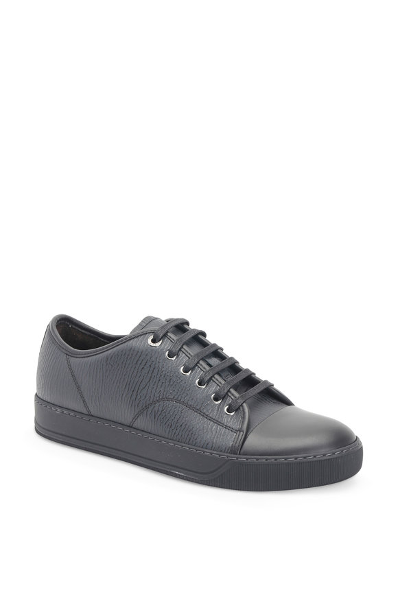 Lanvin Black Textured Leather Low-Top Sneaker