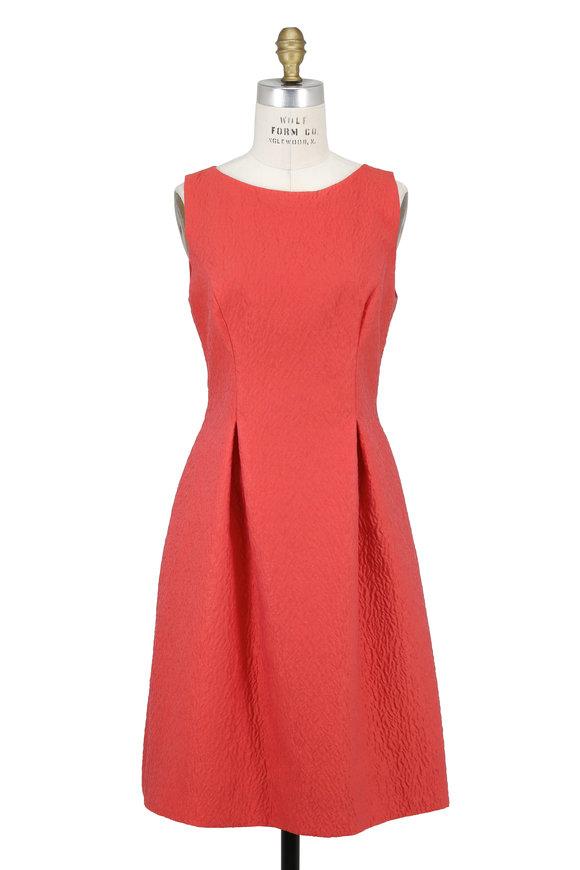 Lela Rose Betsy Coral Embossed Organza Sleeveless Dress