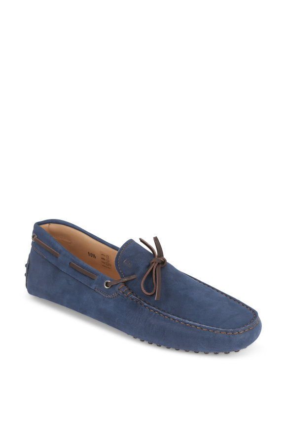 Tod's New Gommini Blue Sueded Corduroy Tie Driver