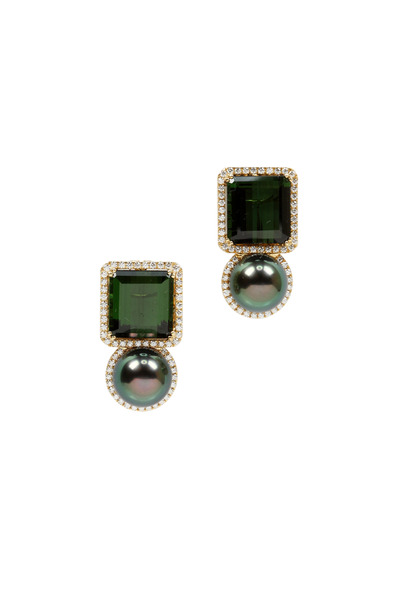 Assael - White Gold Tahitian Pearl Drop Earrings