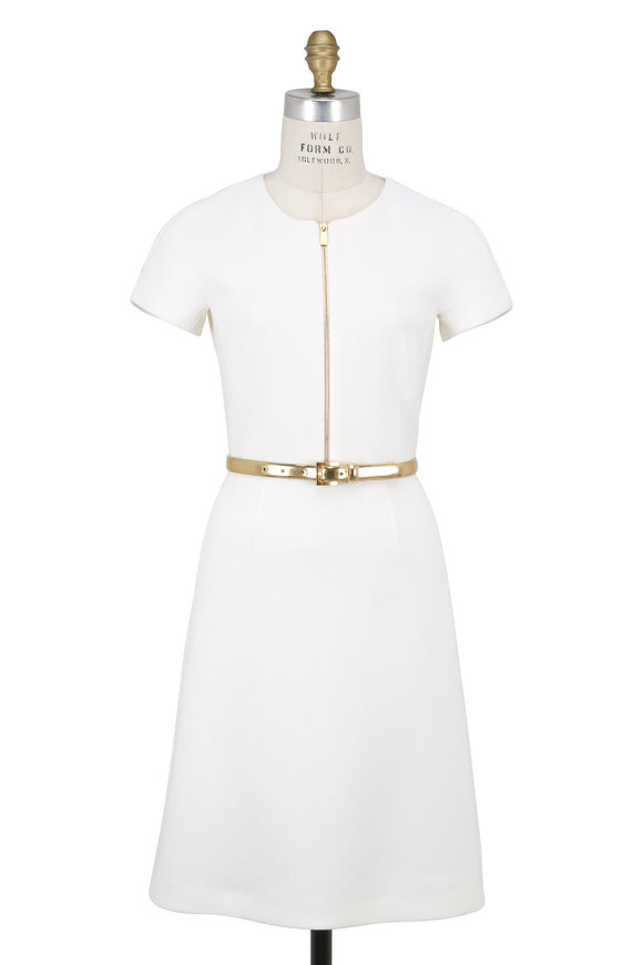 Michael Kors Collection White Stretch Crêpe Cap Sleeve Belted Dress