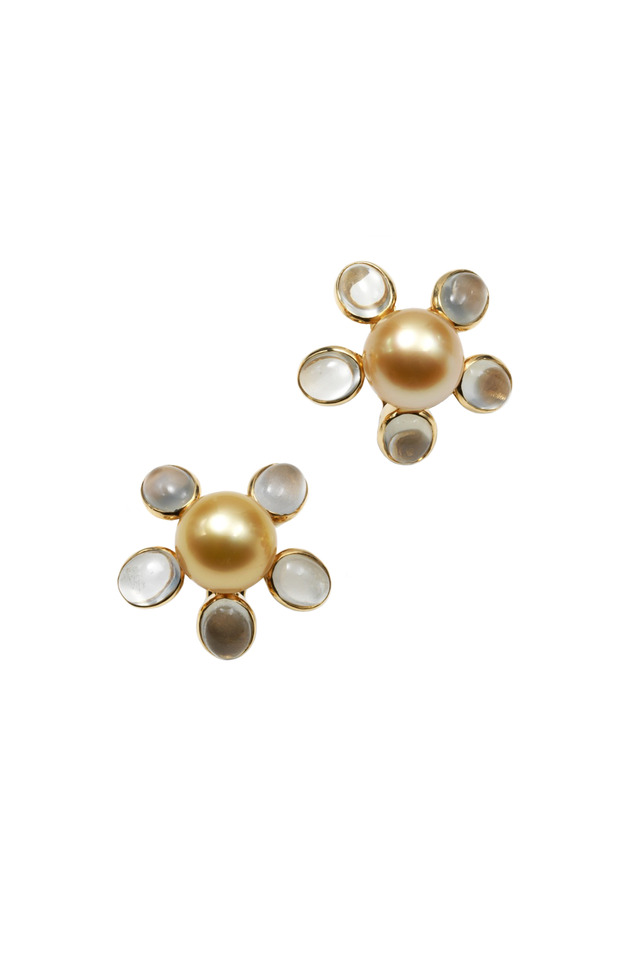 Yellow Gold South Sea Pearl Moonstone Earrings