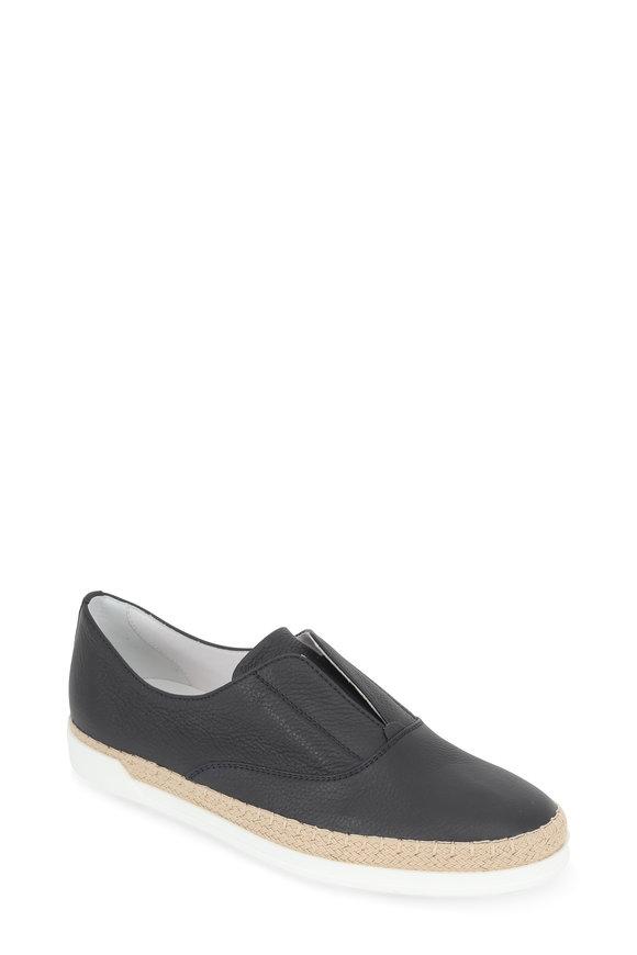 Tod's Navy Blue Leather Slip-On Espadrille Sneaker