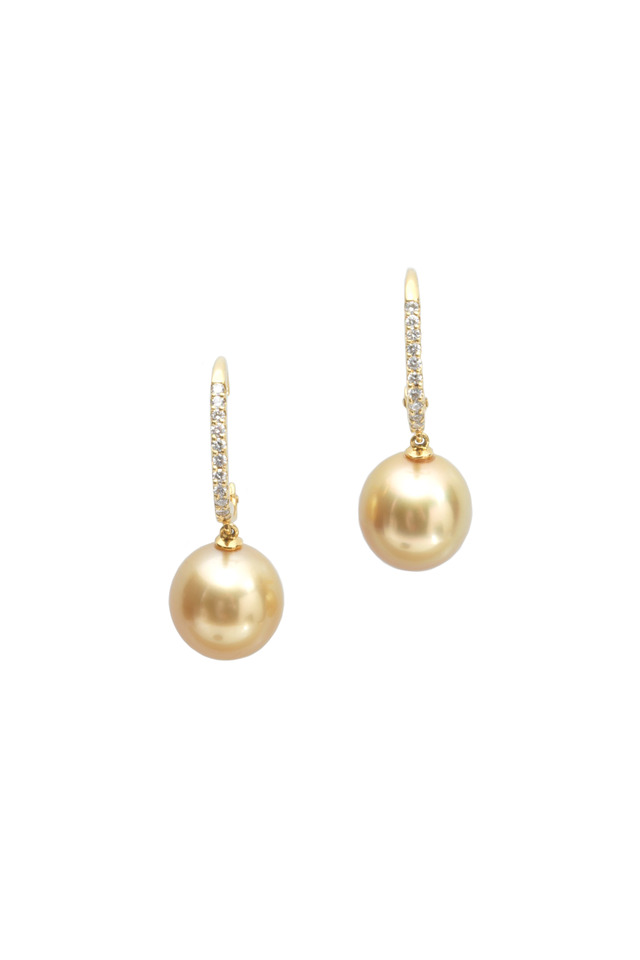 Yellow Gold South Sea Pearl Diamond Drop Earrings