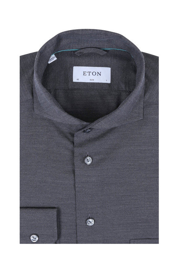 Eton Charcoal Gray Brushed Twill Slim Fit Sport Shirt
