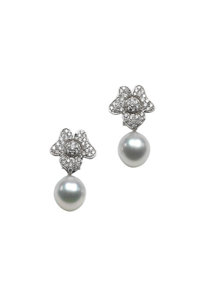 Assael - White Gold Pearl Diamond Flower Drop Earrings