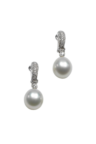 Assael - White Gold Pearl Pavé-Set Diamond Earrings