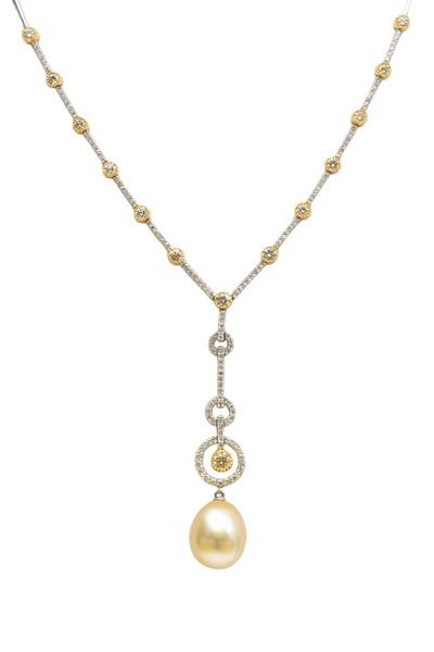 Assael - Gold Pearl Diamond Drop Pendant Necklace