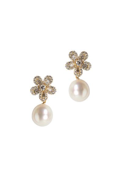 Assael - Yellow Gold South Sea Pearl Drop Flower Earrings