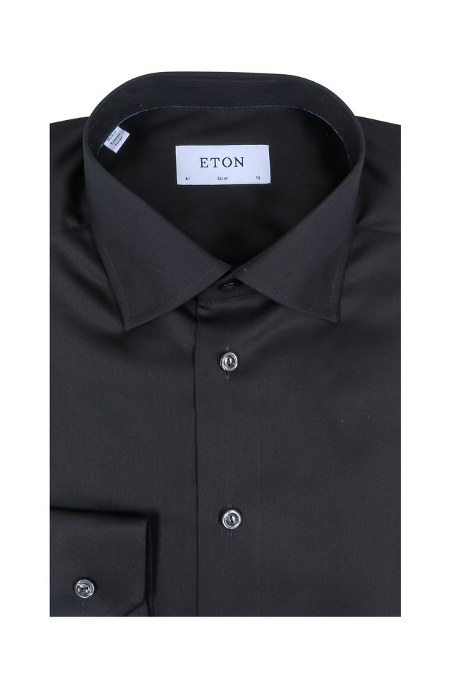 Solid Black Slim Fit Dress Shirt