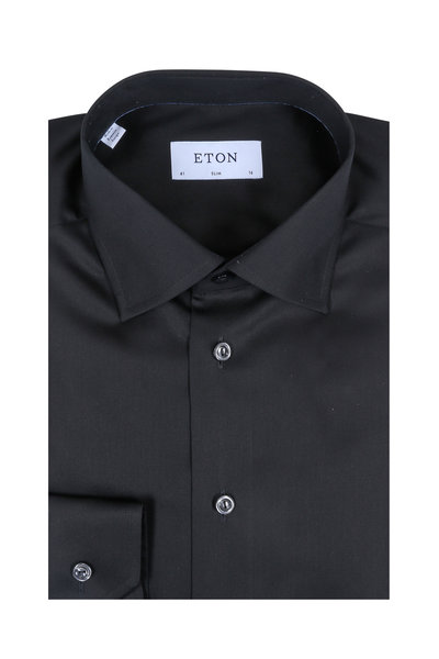 Eton - Solid Black Slim Fit Dress Shirt