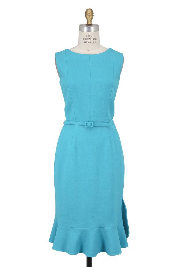Oscar de la Renta Aqua Wool Crêpe Ruffle Hem Sleeveless Dress