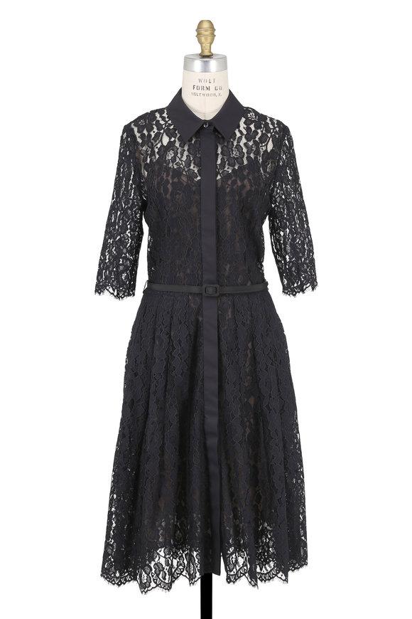 Oscar de la Renta Black Lace Three-Quarter Sleeve Belted Dress