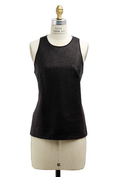 Ralph Lauren - Carmela Black Silk & Leather Tank Top