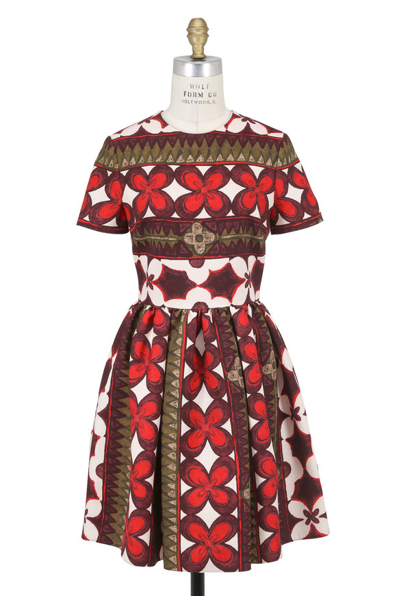 Valentino Multicolor Cuban Flower Crêpe Couture Dress