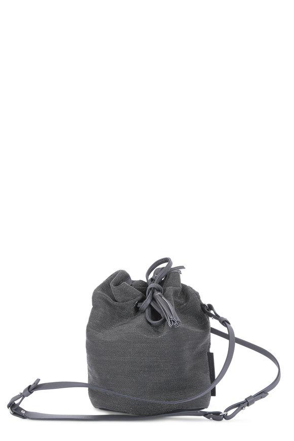 Brunello Cucinelli Onxy Monili Beaded Small Bucket Bag