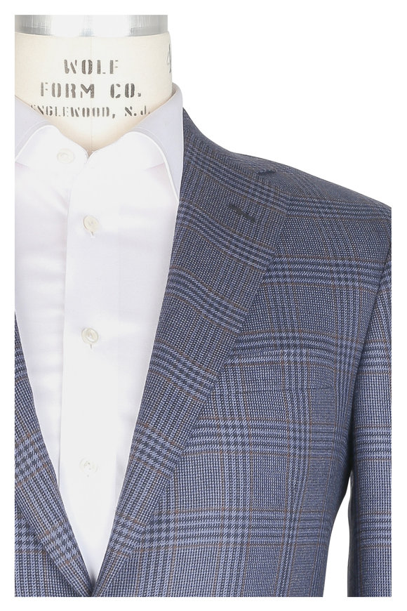 Oxxford Clothes Blue & Rust Plaid Cashmere Sportcoat