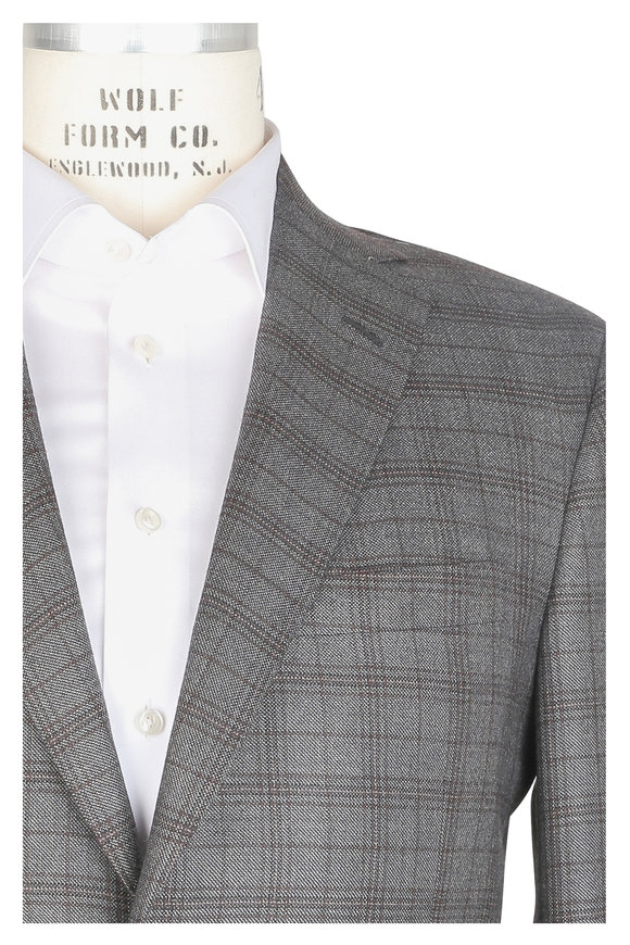 Oxxford Clothes Gray & Brown Plaid Cashmere Sportcoat