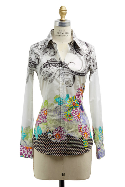Etro - White Multicolor Cotton Blouse