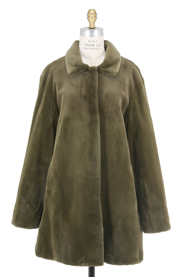 Olive Green Mink & Quilted Taffeta Reversible Coat
