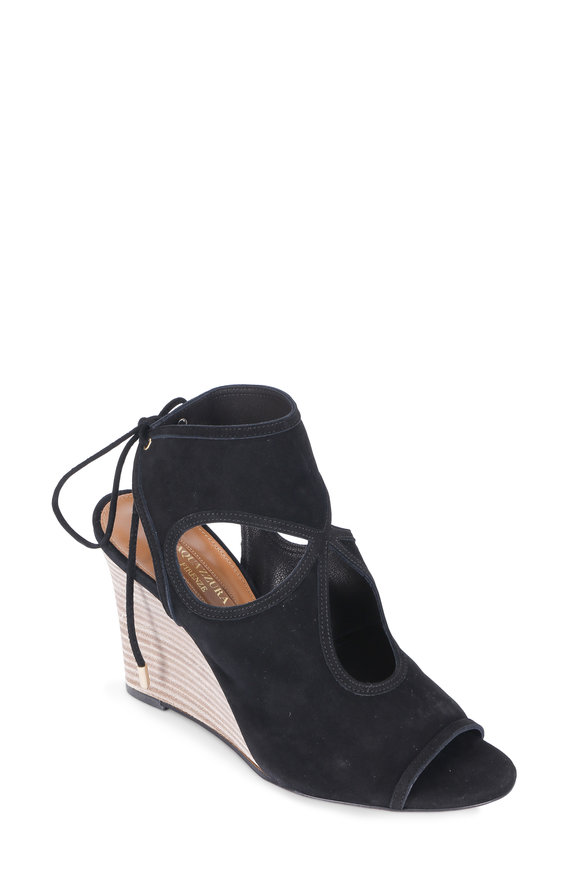 Aquazzura Sexy Thing Black Suede Cut-Out Wedge, 85mm