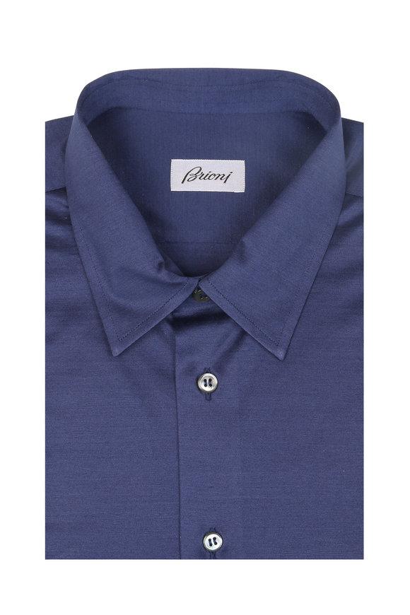 Brioni Indigo Jersey Sport Shirt