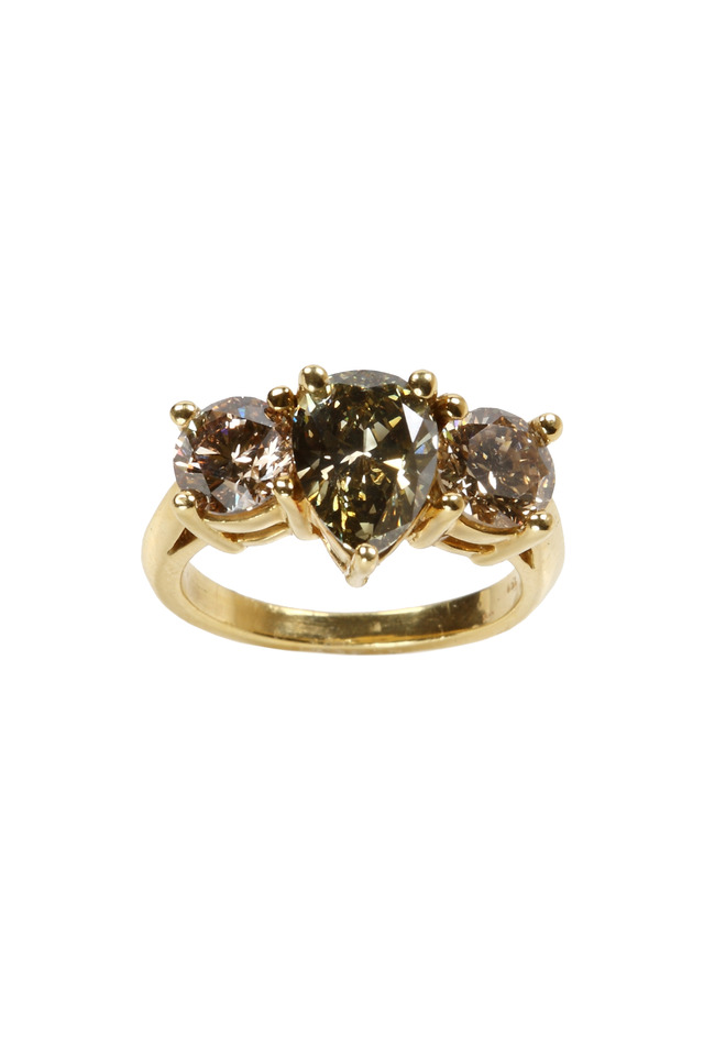 Yellow Gold Olive & Brown Diamond Ring
