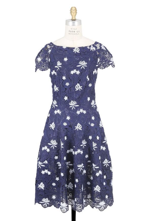 Talbot Runhof Navy Blue & White Lace Cap Sleeve Dress
