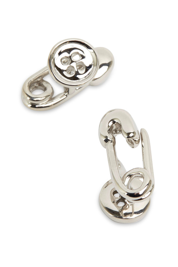 Robin Rotenier Sterling Silver Safety Pin & Button Cuff Links