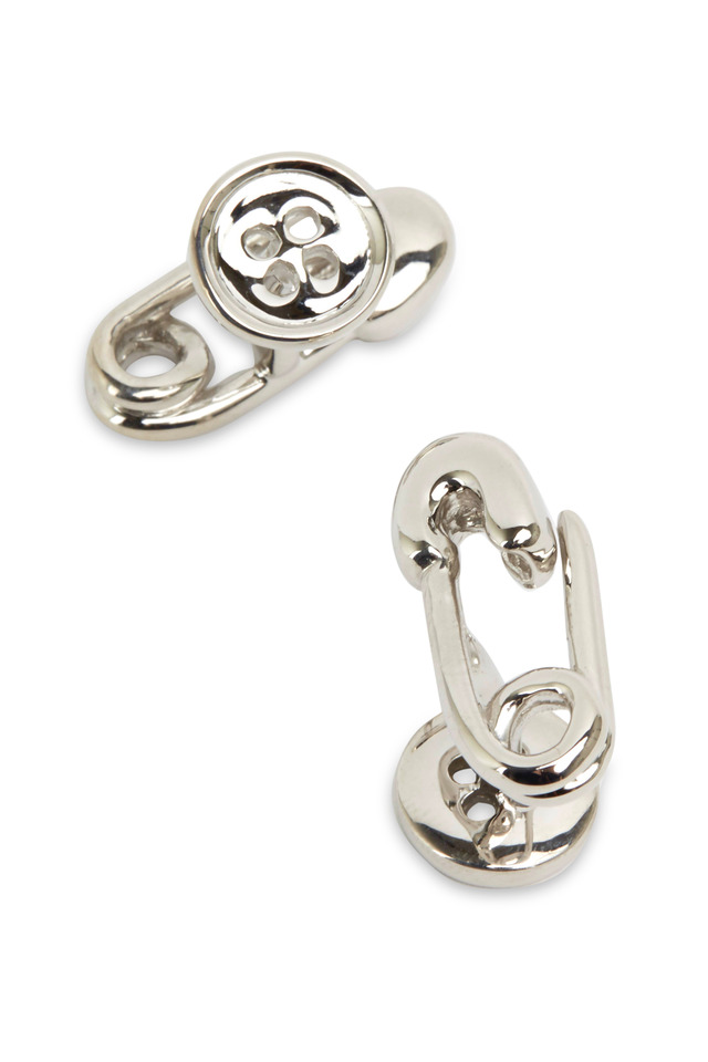 Sterling Silver Safety Pin & Button Cuff Links