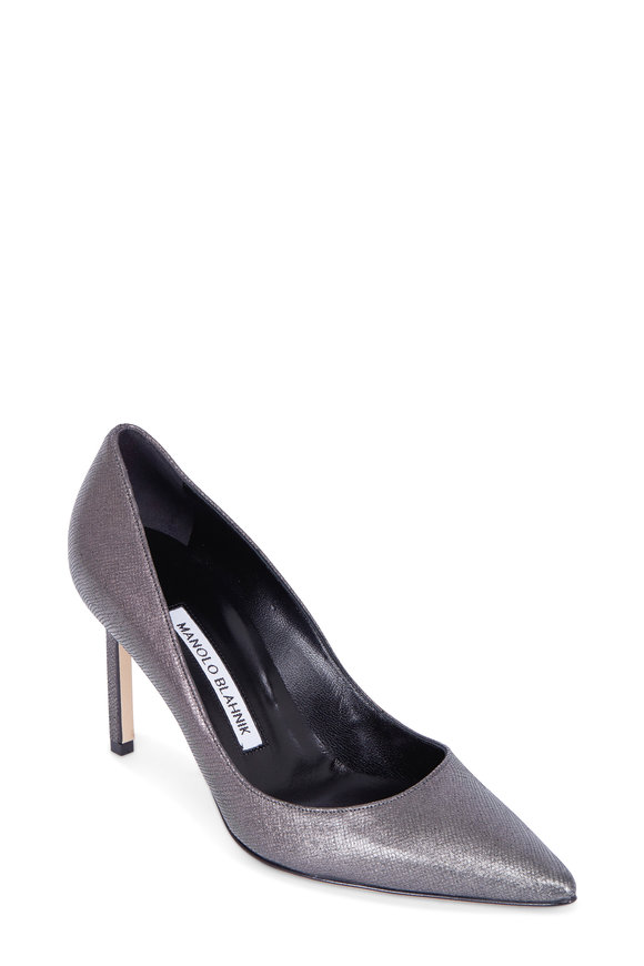 Manolo Blahnik Lisapump Gunmetal Pixel Fabric Pump, 90mm