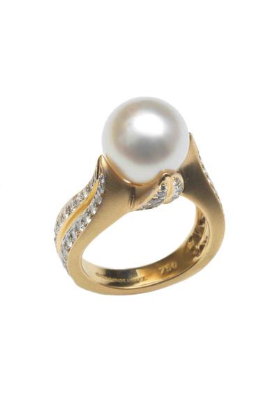 Assael - Angela Cummings Gold Pearl Diamond Flower Ring