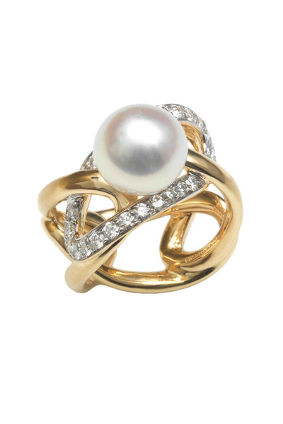 Assael - Gold South Sea Pearl Diamond Sculpted Oval Ring