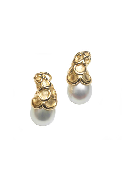 Assael - Yellow Gold South Sea Pearl Scallop Earrings