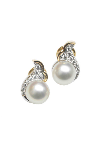 Assael - Gold Pearl Diamond Double Scroll Button Earrings