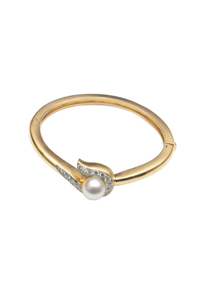 Assael - Yellow Gold South Sea Pearl Diamond Scroll Bangle