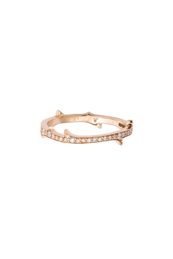 Stephen Webster 18K Rose Gold Diamond Stem Ring